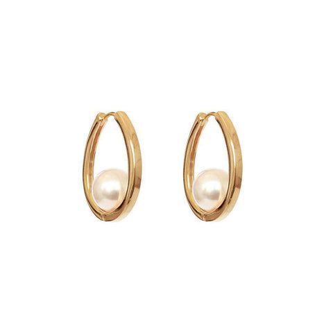 ALCEE PEARL ROSE GOLD HOOPS