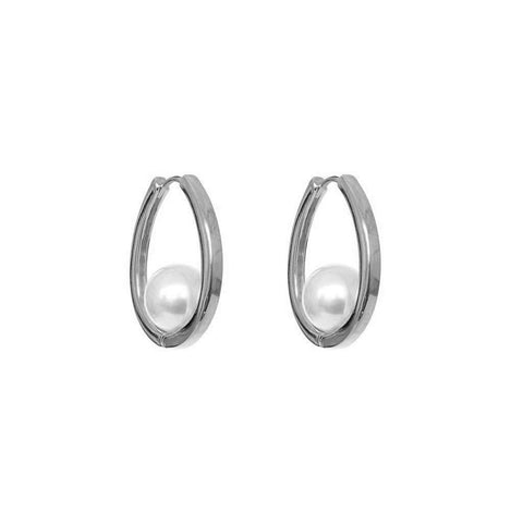 ALCEE RHODIUM PLATED HOOPS