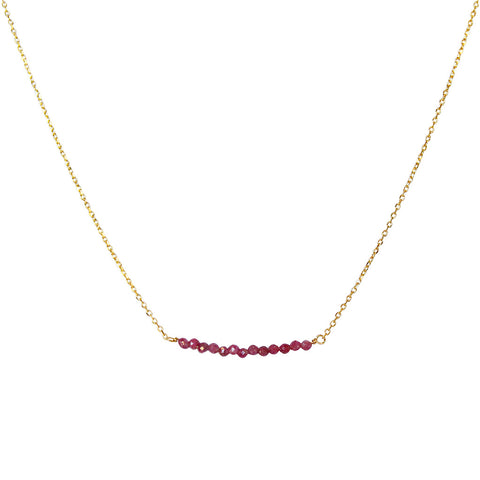 AMIA RUBY GOLD PLATED SEMI PRECIOUS NECKLACE