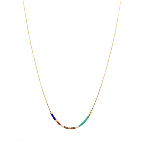 APRIL COLOURFUL BEADS GOLD PENDANT