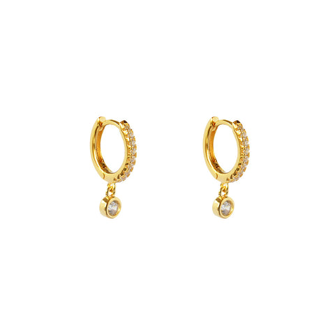 ARELY 1 MICRON GOLD ROUND CRYSTAL DROP HUGGIES