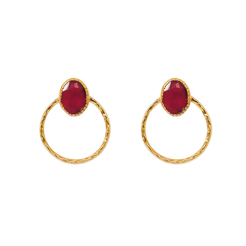 ARI ROUGH RUBY 2 MICRON GOLD EARRINGS