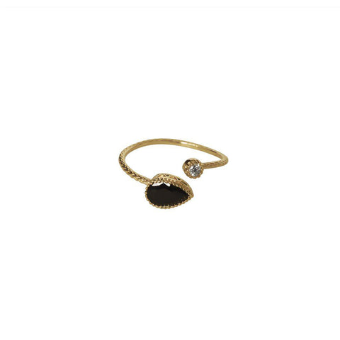AVALON BLACK CRYSTAL GOLD FILLED RING
