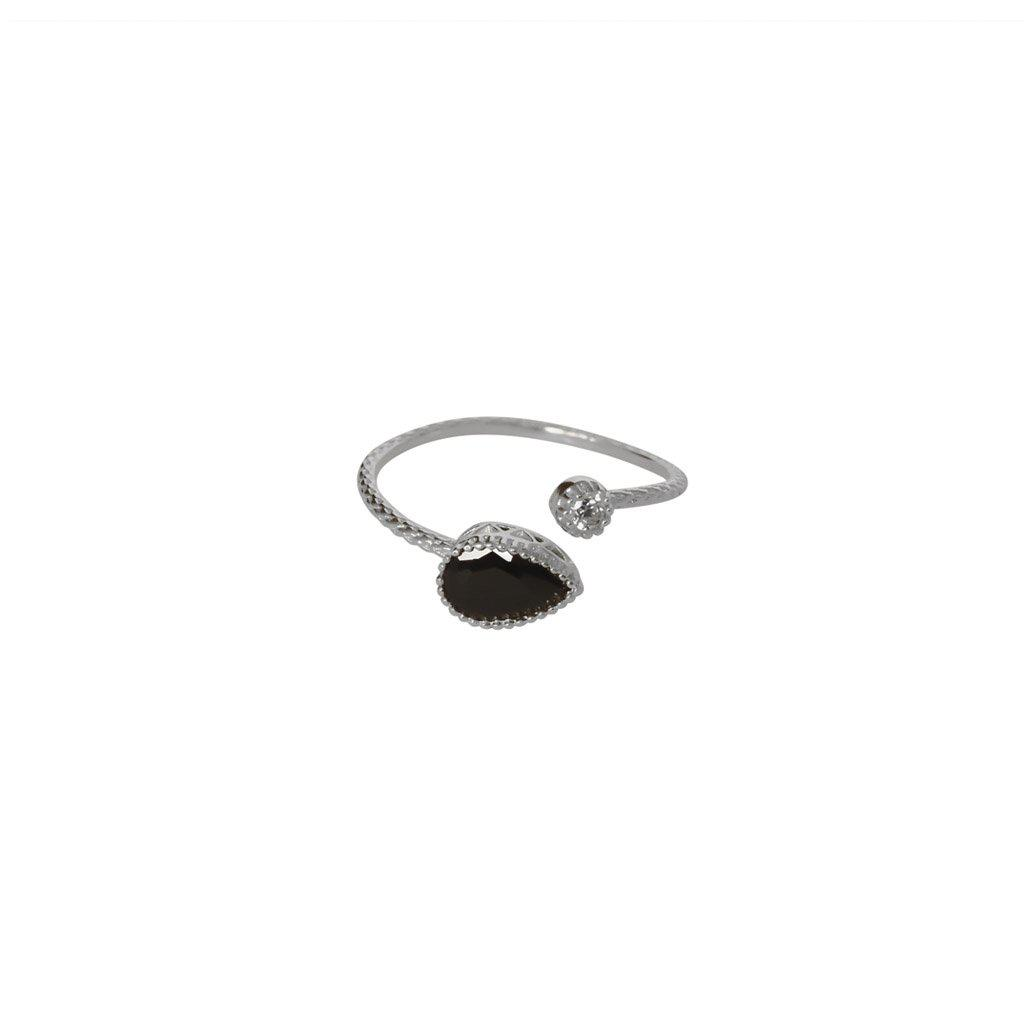 AVALON BLACK CRYSTAL STERLING SILVER RING