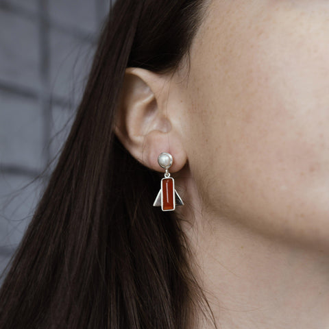 AYLA CARNELIAN SEMI-PRECIOUS STERLING SILVER EARRINGS