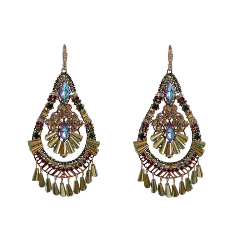AMRUTA BLUE LARGE CRYSTAL CLUSTER TEAR DROP EARRINGS