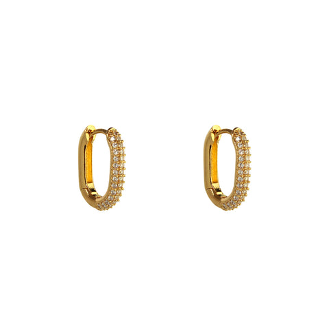 PANIZ MINI HOOP PAVE GOLD CRYSTAL HUGGIES
