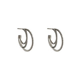 AVNI TRIPLE HOOP GUNMETAL EARRINGS