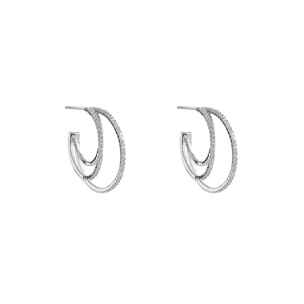 AVNI TRIPLE HOOP SILVER EARRINGS
