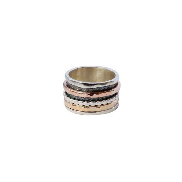 BAHATI STERLING SILVER GOLD FILLED SPINNER RING