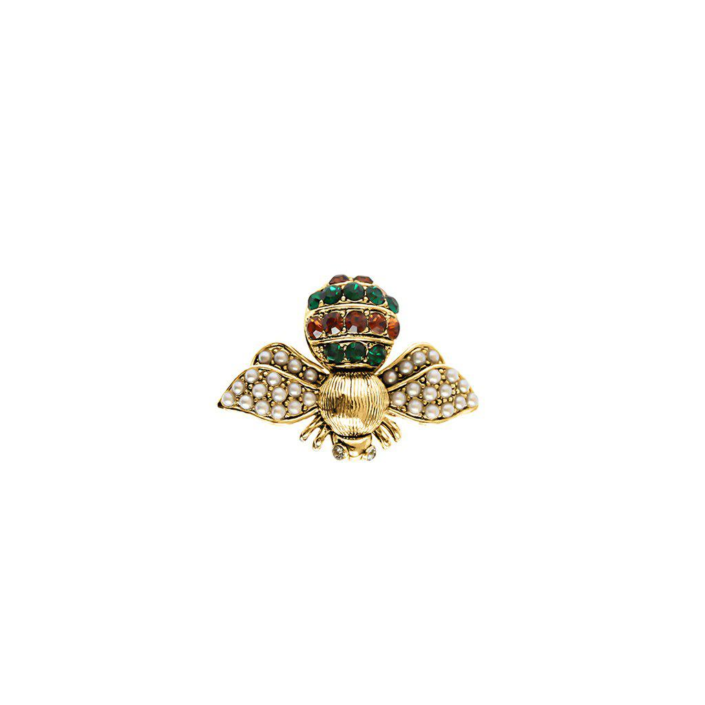 BEE GREEN CRYSTAL AND PEARL BROOCH