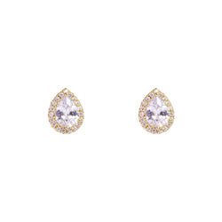 BENONI CRYSTAL TEAR DROP GOLD STUDS