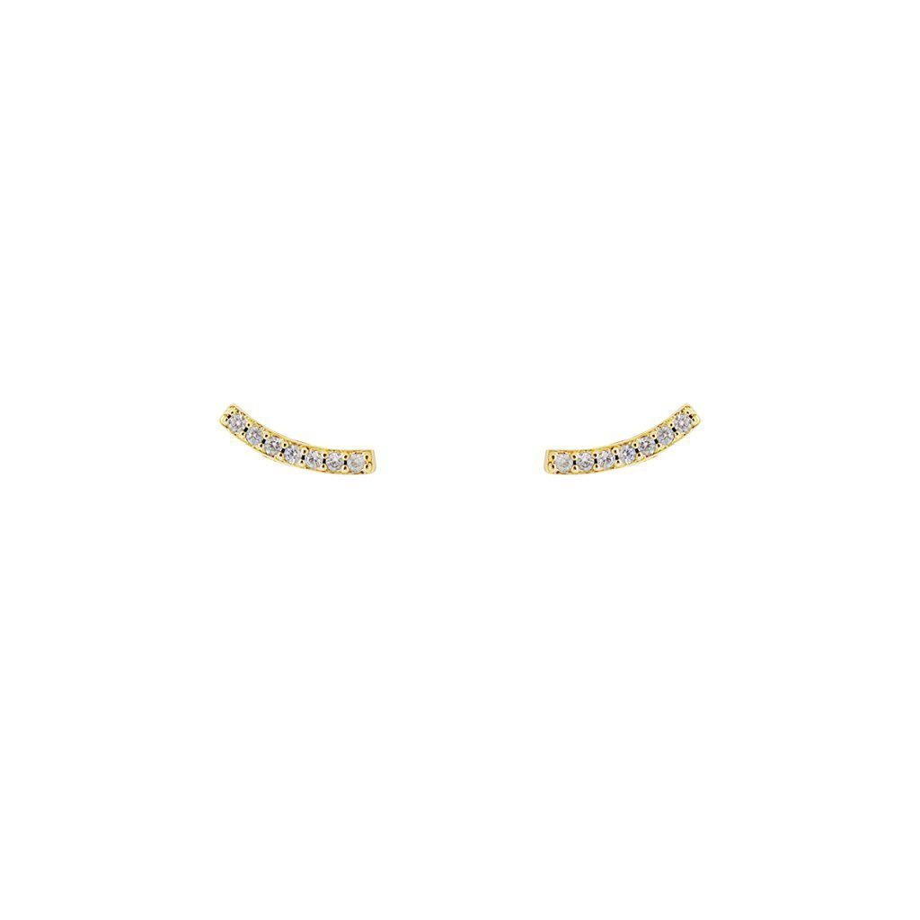 BORIS 2 MICRON GOLD CRYSTAL BAR STUDS