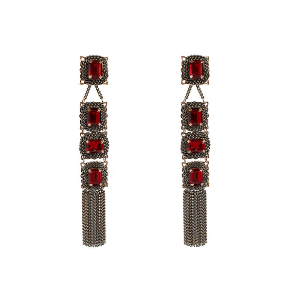BAVNA RED CRYSTAL TASSEL DROP EARRINGS