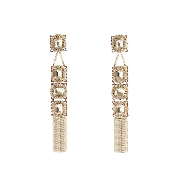 BAVNA WHITE CRYSTAL TASSEL DROP EARRINGS