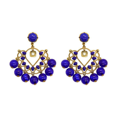 BELMIRA GOLD AND BLUE EARRINGS