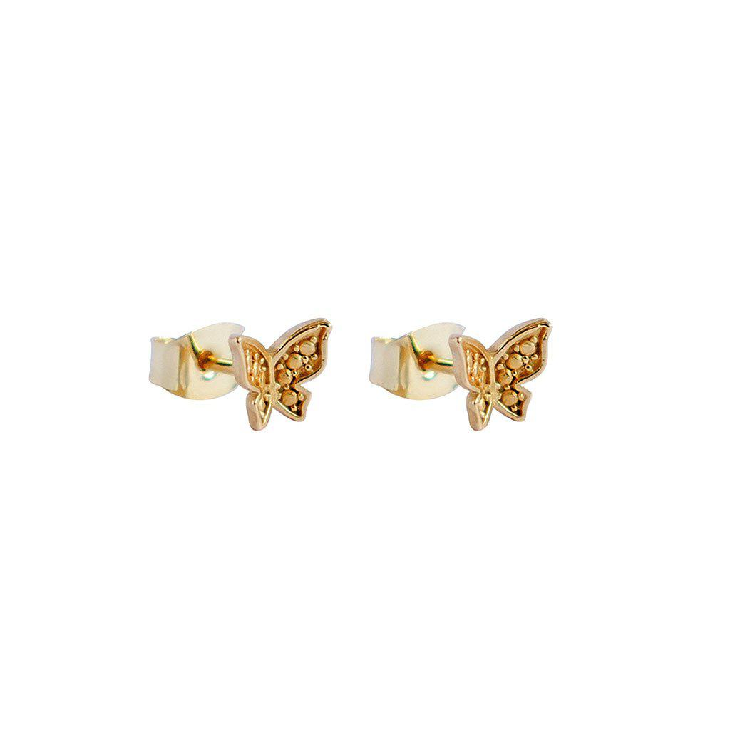 BUTTERFLY 2 MICRON GOLD STUDS