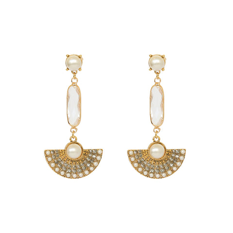 CAROUN CRYSTAL PEARL FAN DROP EARRINGS