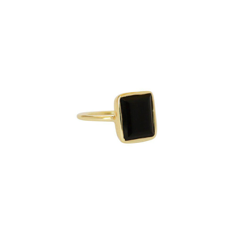 CECILIA LARGE ONYX SEMI PRECIOUS GOLD RING