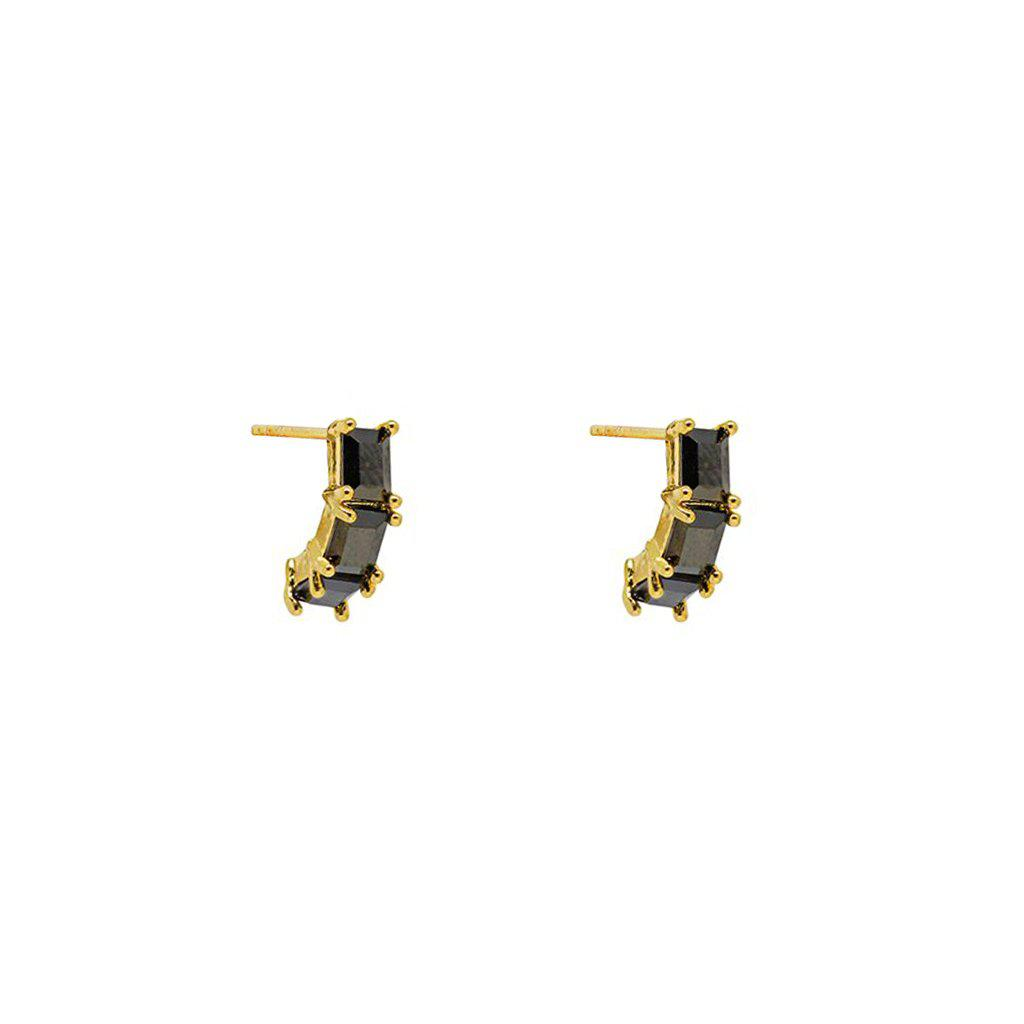CEIL BLACK CRYSTAL STUDS EARRINGS