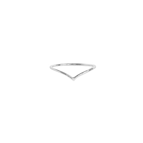 CHEVRON THIN SILVER RING
