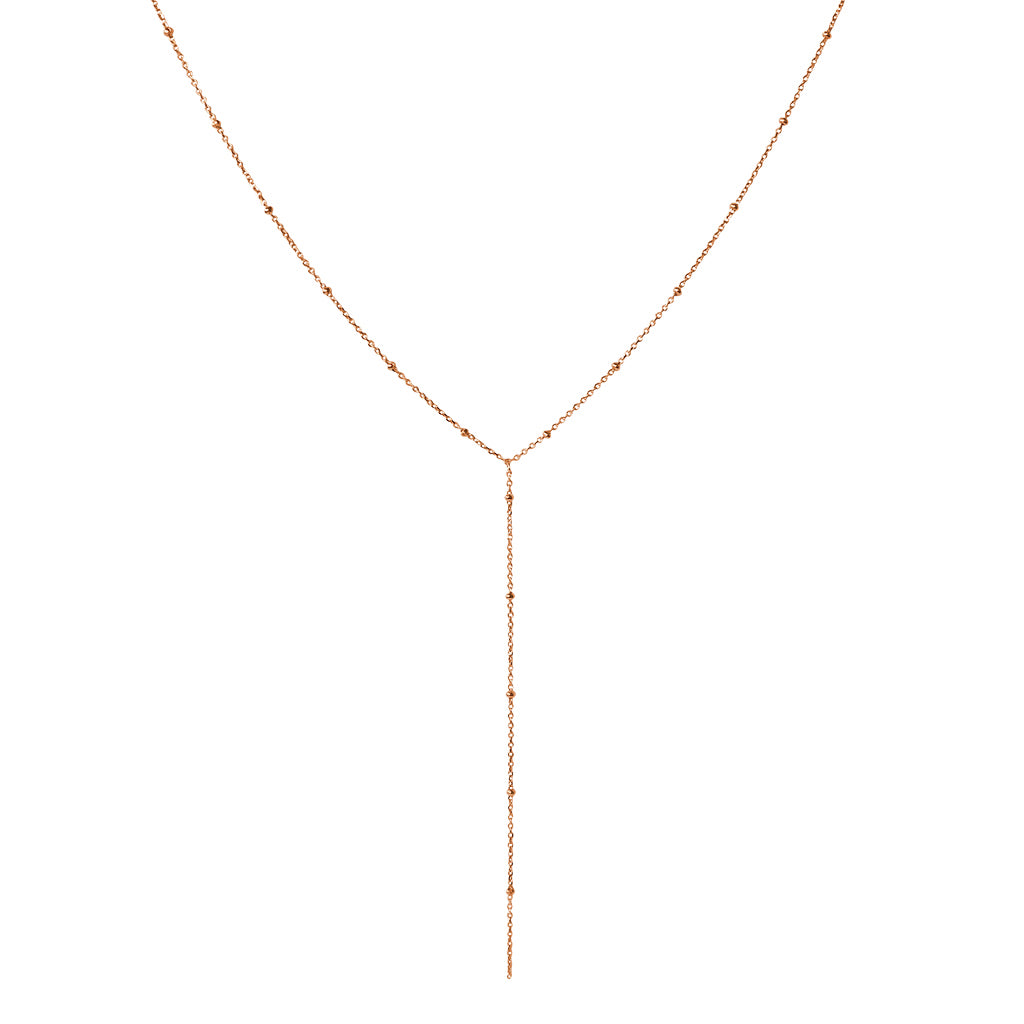 ETTA LARIAT ROSE GOLD FILLED NECKLACE