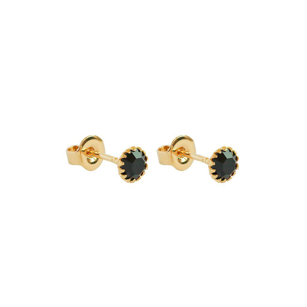 CLEVA BLACK CRYSTAL 2 MICRON GOLD STUDS