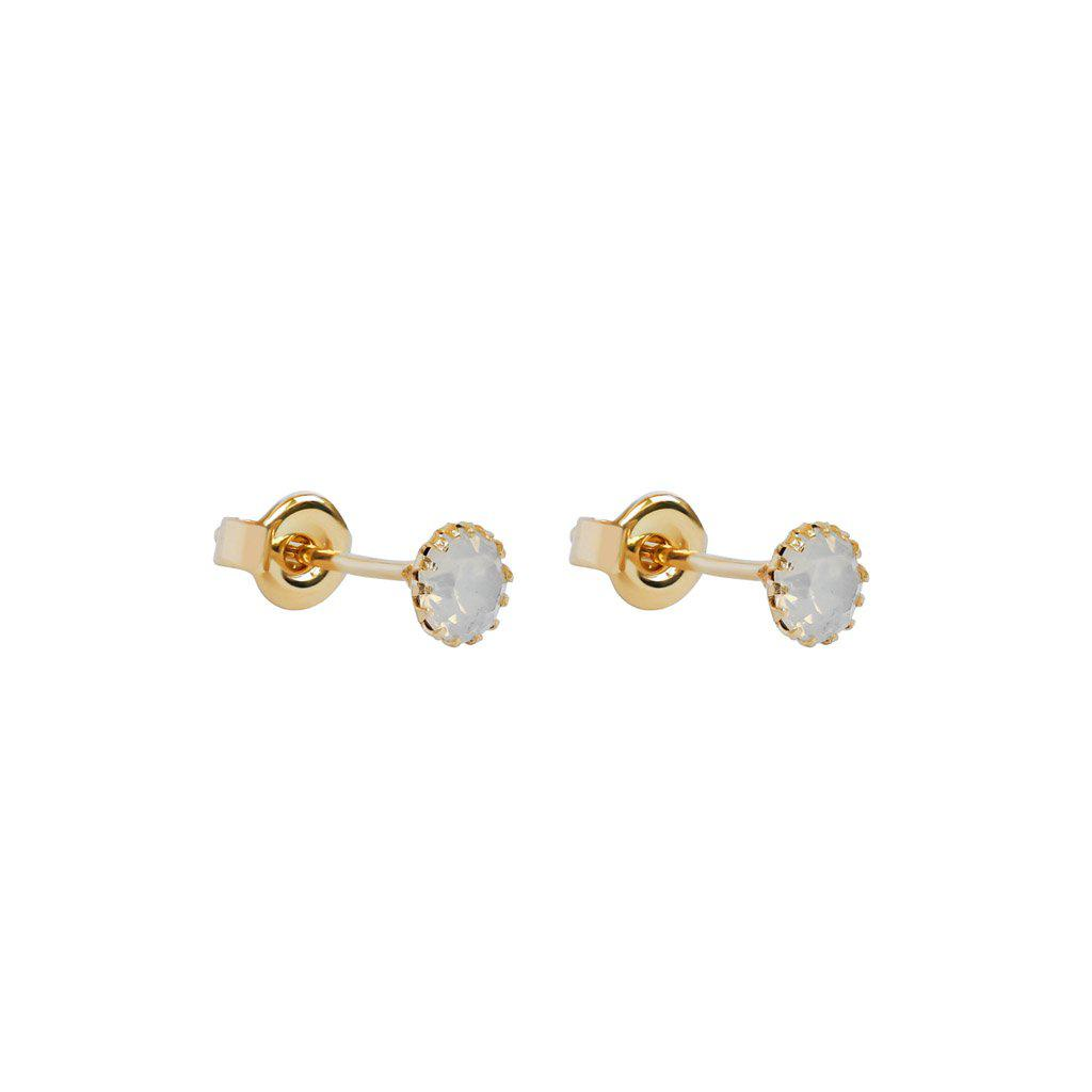 CLEVA WHITE CRYSTAL 2 MICRON GOLD STUDS