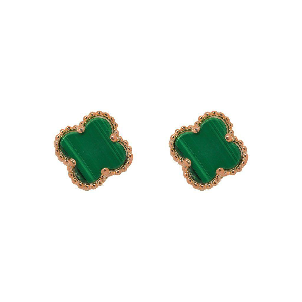 CLOVER MALACHITE ROSE GOLD STUDS EARRINGS