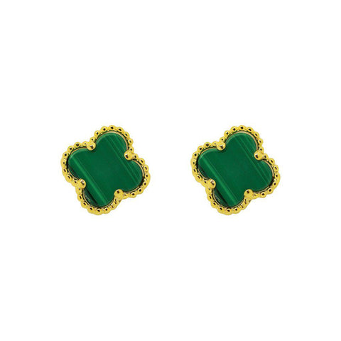 CLOVER MALACHITE GOLD STUDS EARRINGS
