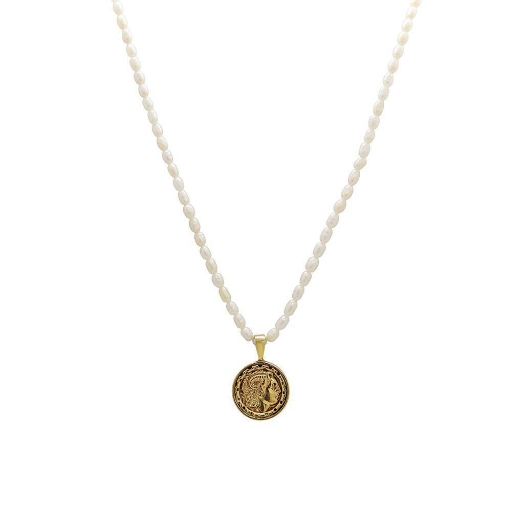 RASHIKA FRESHWATER PEARL GOLD FILLED COIN PENDANT
