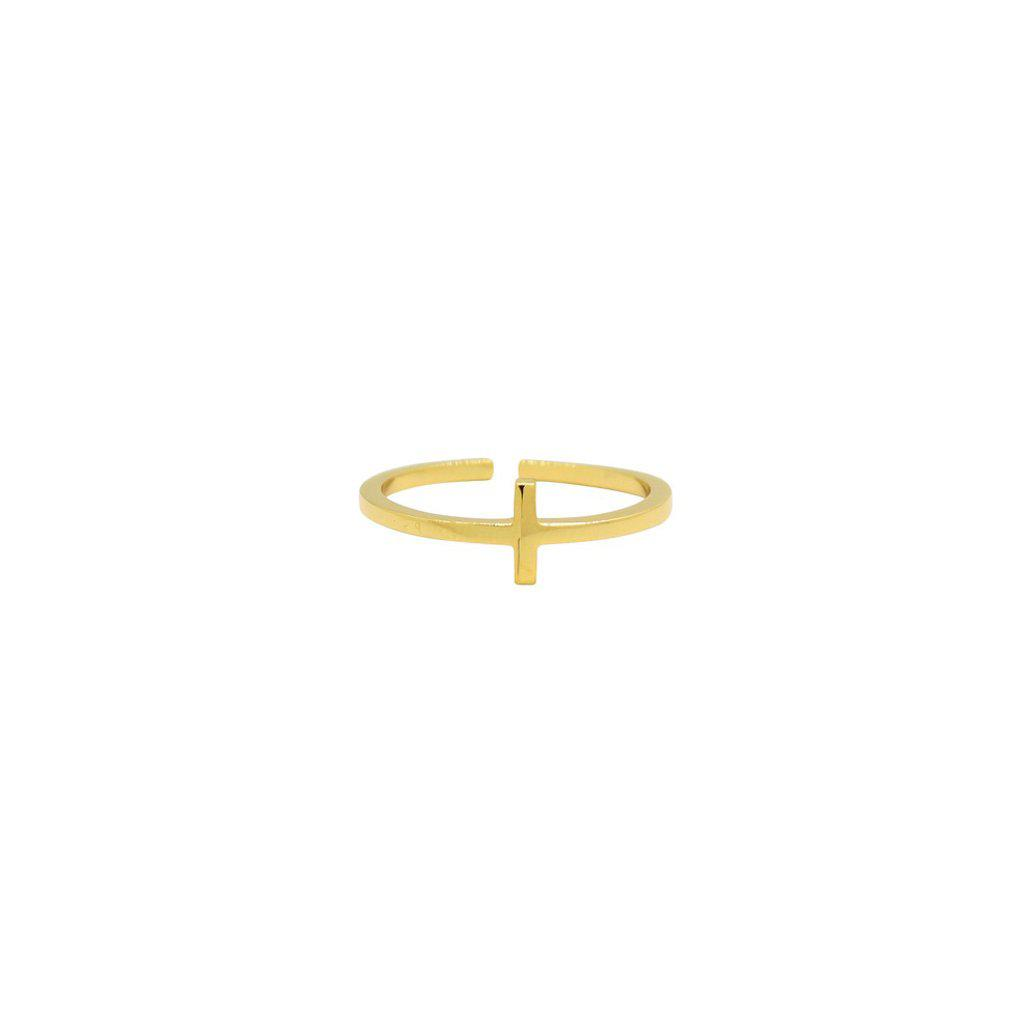 CROSS PLAIN GOLD RING