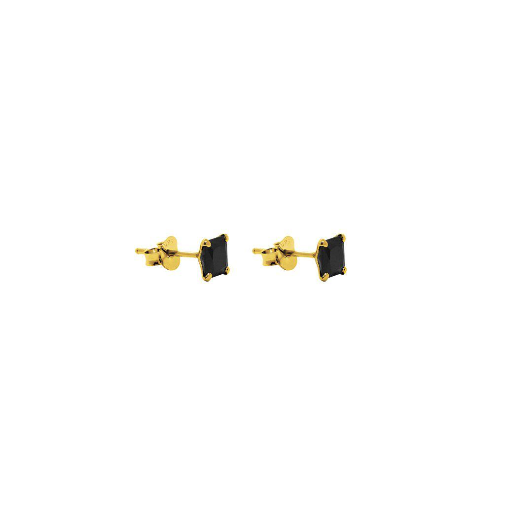 CUBIC ZIRCONIA BLACK CRYSTAL SQUARE STUDS