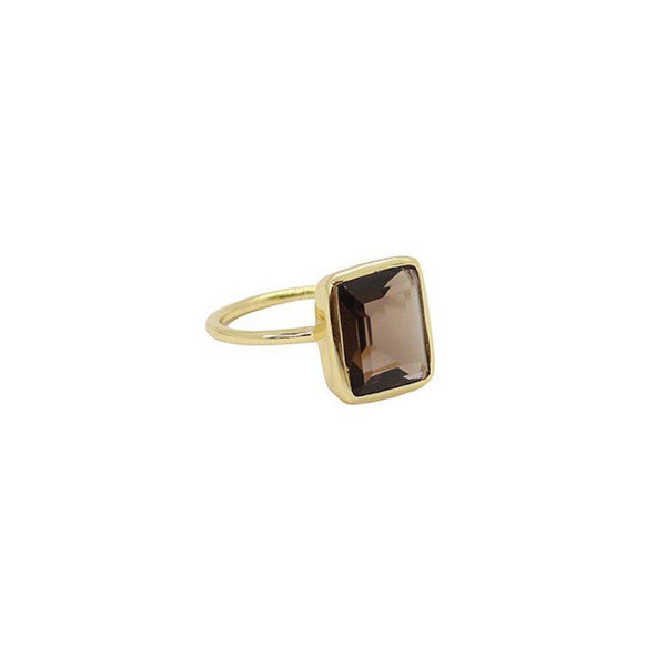 CECILIA LARGE SMOKEY QUARTZ SEMI PRECIOUS GOLD RING