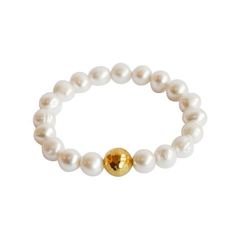 CHARO FRESHWATER PEARL GOLD STRETCH BRACELET