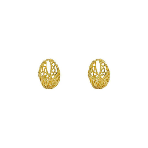 CHIKE 2 MICRON GOLD FILIGREE HOOP EARRINGS