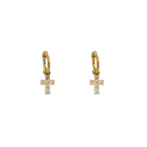 CROSS CRYSTAL CHARM GOLD MINI HUGGIES