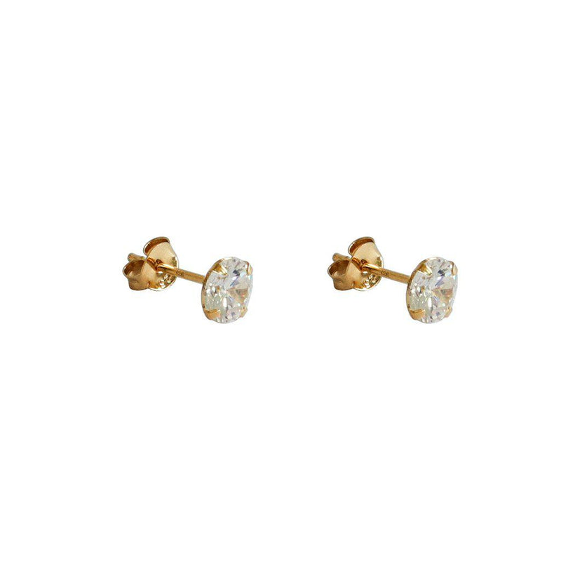 CUBIC ZIRCONIA GOLD BASE ROUND STUDS