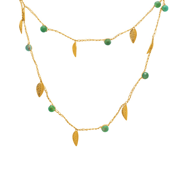 Daun Semi-precious Silk Gold Filled Leaf Necklace