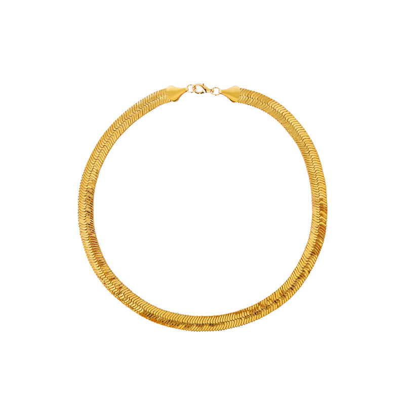 DELMA GOLD HERRINGBONE CHAIN 10MM NECKLACE