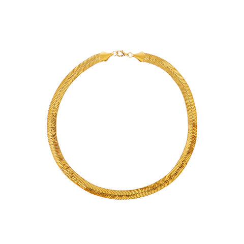 DELMA LARGE GOLD HERRINGBONE CHAIN NECKLACE