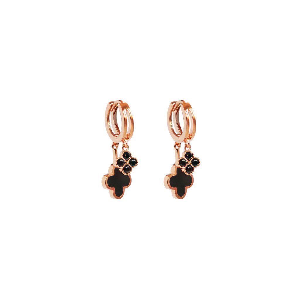 DOUBLE CLOVER CHARMS ROSE GOLD HUGGIES