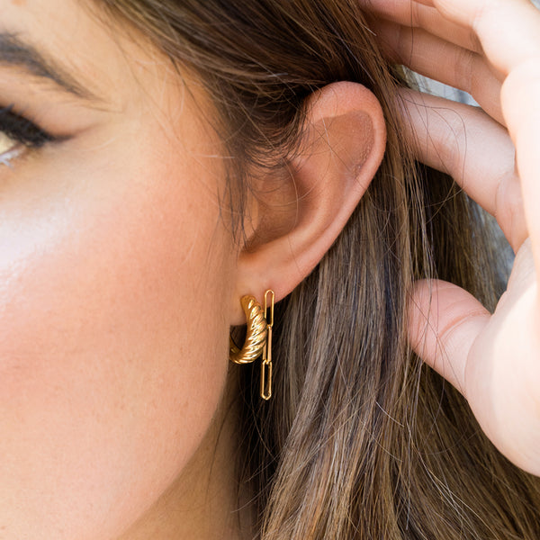 Marnie 1 Micron Gold link earrings