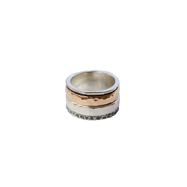 EAKON STERLING SILVER GOLD FILLED SPINNER RING
