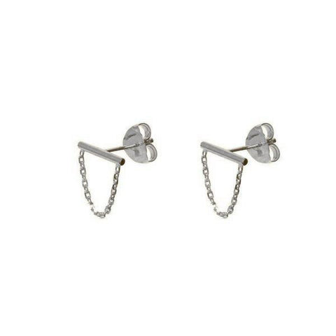 CRUZ CHAIN SILVER STUD EARRINGS