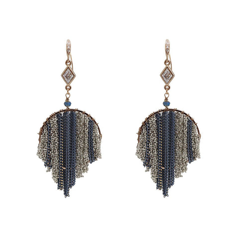 EKANI BLUE GUNMETAL ROUND CHAIN TASSEL DROP EARRINGS