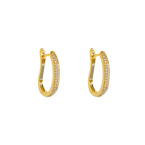 ELINA GOLD CRYSTAL OMEGA SHAPE HOOP EARRINGS