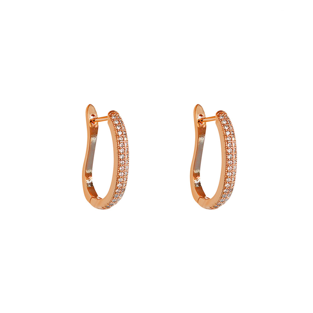 ELINA ROSE GOLD CRYSTAL OMEGA SHAPE HOOP EARRINGS