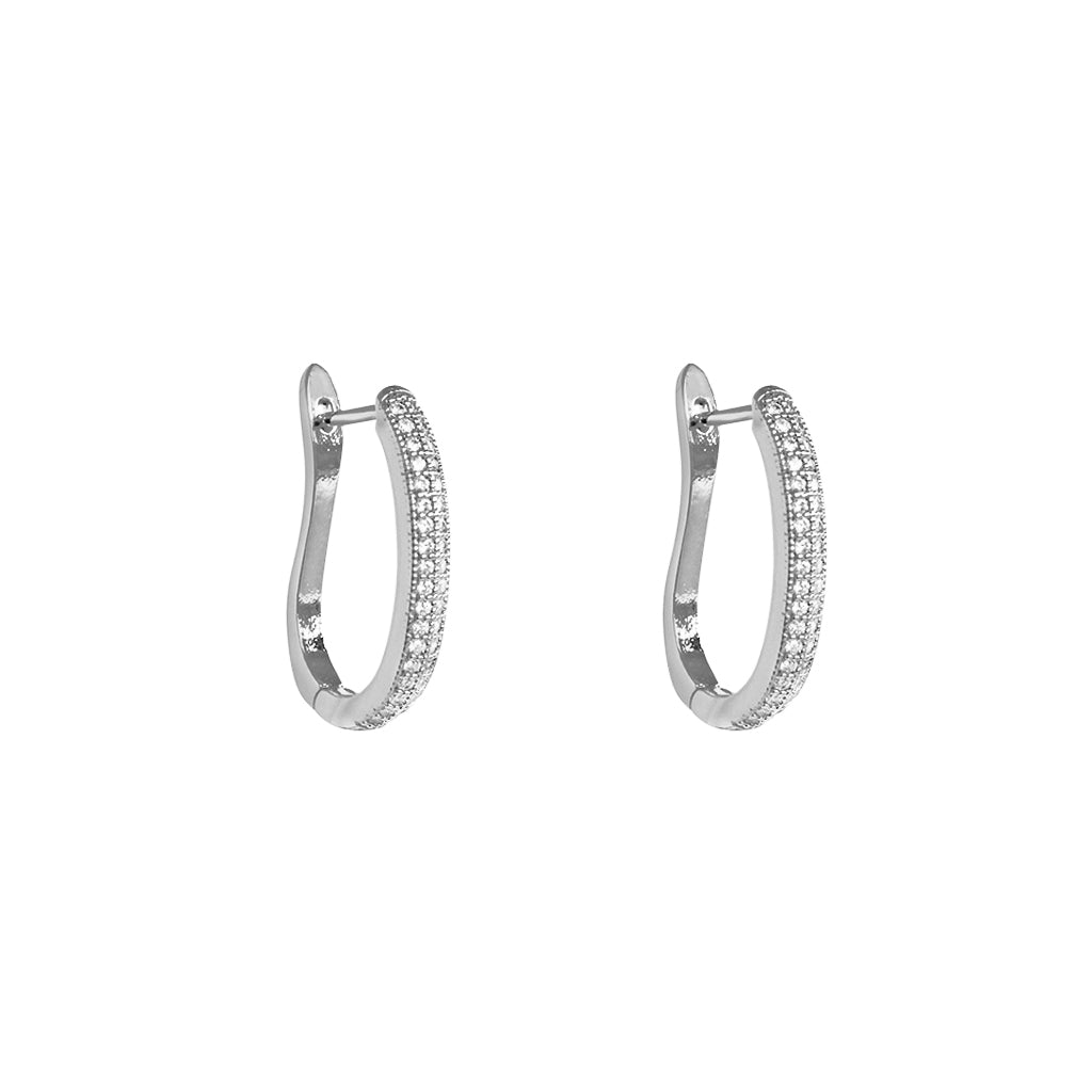 ELINA SILVER CRYSTAL OMEGA SHAPE HOOP EARRINGS