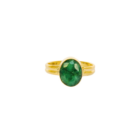 ESA GREEN QUARTZ GOLD FILLED SEMI-PRECIOUS RING